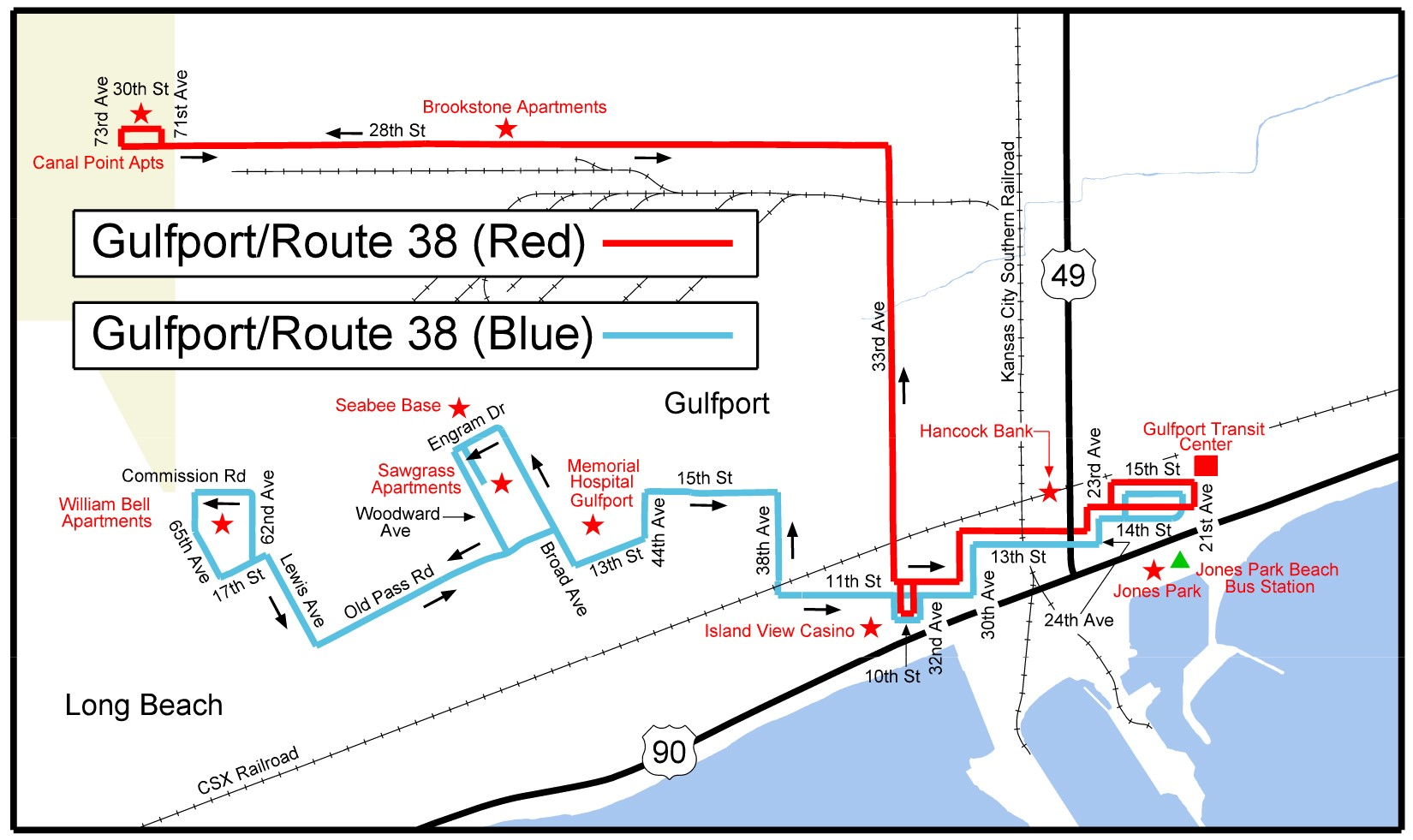 Gulfport Route 38 Map